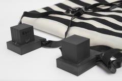 Paires de tefillin, symbole d'A des personnes juives, une paire de tefillin avec les courroies noires, d'isolement sur un fond bl Photos libres de droits