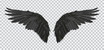 Paires de vecteur d'ailes réalistes noires sur le fond transparent illustration de vecteur