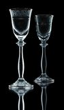 Paires de verres à vin vides Image stock