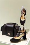 Paires des chaussures et du sac à main de suède de dames Photographie stock libre de droits