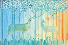 Paires en verre souillées de forêt de cerfs communs au printemps illustration de vecteur
