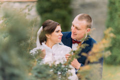 Paires heureuses de nouveaux mariés, jeunes mariés, à la promenade de mariage sur le beau parc vert Photo stock