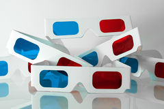 Pairs of 3D glasses. Several pairs of 3D anaglyph red-cyan paper glasses stock photography