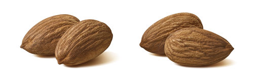 2 pairs almond nut isolated on white background Royalty Free Stock Photos