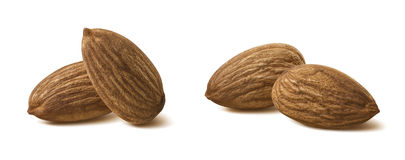 Pairs almond nut isolated on white background Royalty Free Stock Images