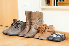 Pairs of autumn shoes Stock Images