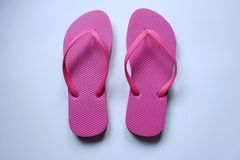 Pairs of beach shoes tong in colors Royalty Free Stock Photo