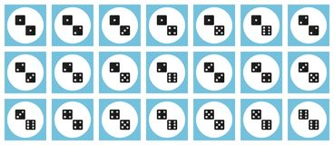 Pairs of black dices vector flat icon set. Pairs of dices vector flat icon set - all possible combinations of black dices on white and blue backdrops Stock Photography