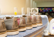 Pairs of bowling shoes Stock Photo
