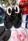 Pairs of children's shoes Stock Image