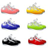 Pairs of Colourful Sneakers Stock Image