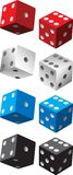 Pairs of dice. Multiple colored pairs of dice Royalty Free Stock Images