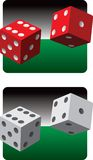 Pairs of dice. White pair of dice and a red pair of dice Stock Photo