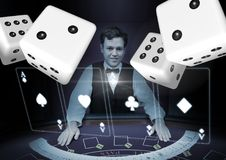 Pairs of dice in front of croupier. Digital composite of Pairs of dice in front of croupier Stock Photography