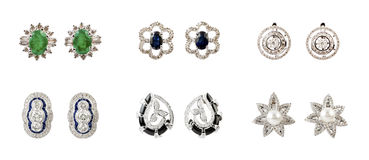 Pairs of earrings Stock Photos