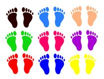 Pairs of feet of colors. Sets of footprints, different colors royalty free illustration