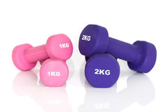 2 pairs of fitness dumbbells Stock Photography