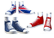 Pairs of isolated sneakers illustration Royalty Free Stock Photography