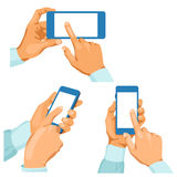 Pairs of male hands with phones Stock Photo