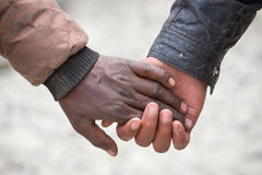 Pairs of men hands on the street in India Royalty Free Stock Images