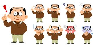 9 pairs of middle-aged men wearing eyeglasses vector illustration