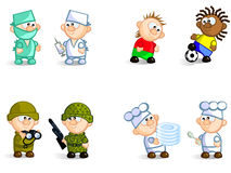 Pairs-of-professionals. Vector Icons   of different pair of professionals. Football players, doctors, cooks, soldiers.  Isolated Royalty Free Stock Photo