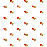 Pairs of red and gold heart isolated on white Stock Image