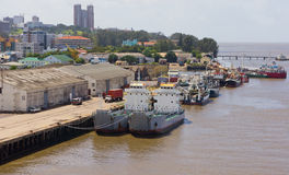 Pairs of Ships. Ships moored in Maputo Harbour stock photo