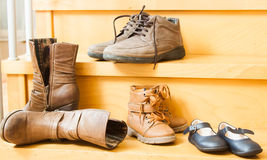 Pairs of shoes fall Royalty Free Stock Images