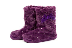 Pairs of warm fur boots Royalty Free Stock Image