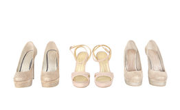 Pairs of woman shoes on white.  Stock Images