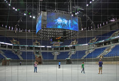Pais Arena. Journalists wander around the new Pais Arena Arena, costing about $112 million, financed in large part by the national lottery. It is a sports and Royalty Free Stock Photography
