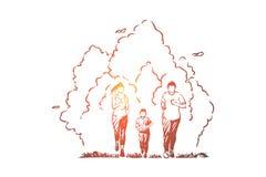 Pais com a crian?a que corre no parque, na m?e, no pai e no filho no sportswear, recrea??o exterior, estilo de vida saud?vel ilustração stock