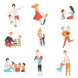 Pais e suas crianças que têm o bom tempo ajustado junto, mamã e paizinho que jogam, fazendo esportes, tendo o divertimento com su ilustração do vetor