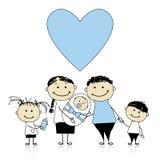 Pais felizes com crianças, bebê recém-nascido nas mãos ilustração do vetor