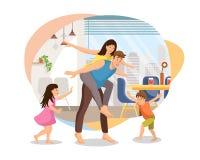 Pais felizes que chapeiam com o vetor das crianças em casa ilustração royalty free