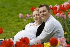 Pais Loving que esperam o bebê foto de stock