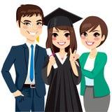 Pais orgulhosos da graduação da filha ilustração do vetor