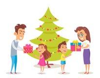 Pais que dão presentes a suas crianças felizes ilustração do vetor