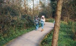Pais que dão às cavalitas o passeio às crianças felizes fora Foto de Stock