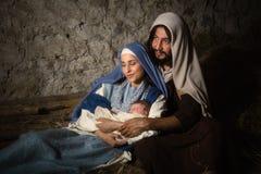 Pais santamente na cena da natividade Imagem de Stock Royalty Free