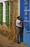 Colombian Man, Colonial Houses, Colombia royalty free stock photography