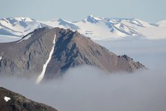 Paisagem ártica - geleira e montanhas Fotos de Stock Royalty Free