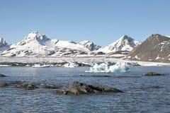 Paisagem ártica - navios sob a geleira Imagem de Stock