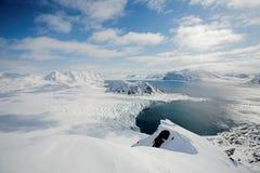 Paisagem ártica típica do inverno - Spitsbergen Fotografia de Stock Royalty Free