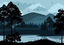 Paisagem, árvores, lago e montanhas ilustração stock