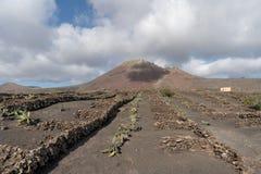Paisagem áspera do solo vulcânico, ilha de Lanzarote, Espanha imagens de stock