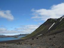 Paisagem épico do lago Langisjor e Vatnajokull no tempo ensolarado imagens de stock royalty free