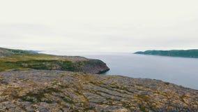 Paisagem aérea de Autumn Nature do norte Kola Peninsula em Rússia perto da cidade de Kandalaksha filme