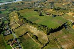 Paisagem aérea do vinhedo de Fronsac do wiev, vinhedo sul a oeste de França Foto de Stock Royalty Free